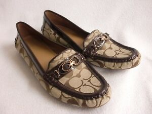 authentic quality great prices united states Details about COACH DRIVING SHOES SIGNATURE C FORTUNATA 8B BROWN KHAKI