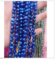 """New!5-6mm Blue Freshwater Cultured Pearl Flat Gemstone Loose Beads 13"""" 018"""