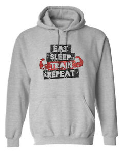 Eat-Sleep-Train-Repeat-Body-Building-Poids-Gym-Entrainement-Capuche-Hoody-Sweat-a-Capuche-Cadeau