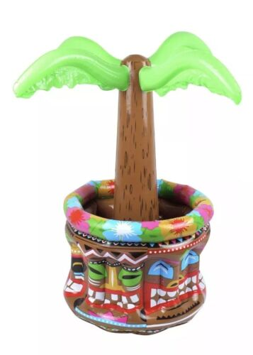 1x Inflatable Palm Tree Cooler 66cm Luau Hawaiian Party Prop Blow Up Drinks
