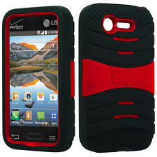 For Lg Optimus Fuel L34C Hard Gel Rubber KICKSTAND Case Cover + Screen Protector
