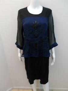 BLUE-ILLUSION-SILK-BLEND-BLUE-BLACK-DRESS-SIZE-LARGE-12-14-U1231