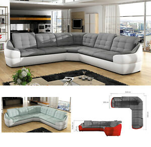 Details about BMF \'INFINITY L\' MODERN Corner Sofa Faux Leather/Fabric  UNIVERSAL