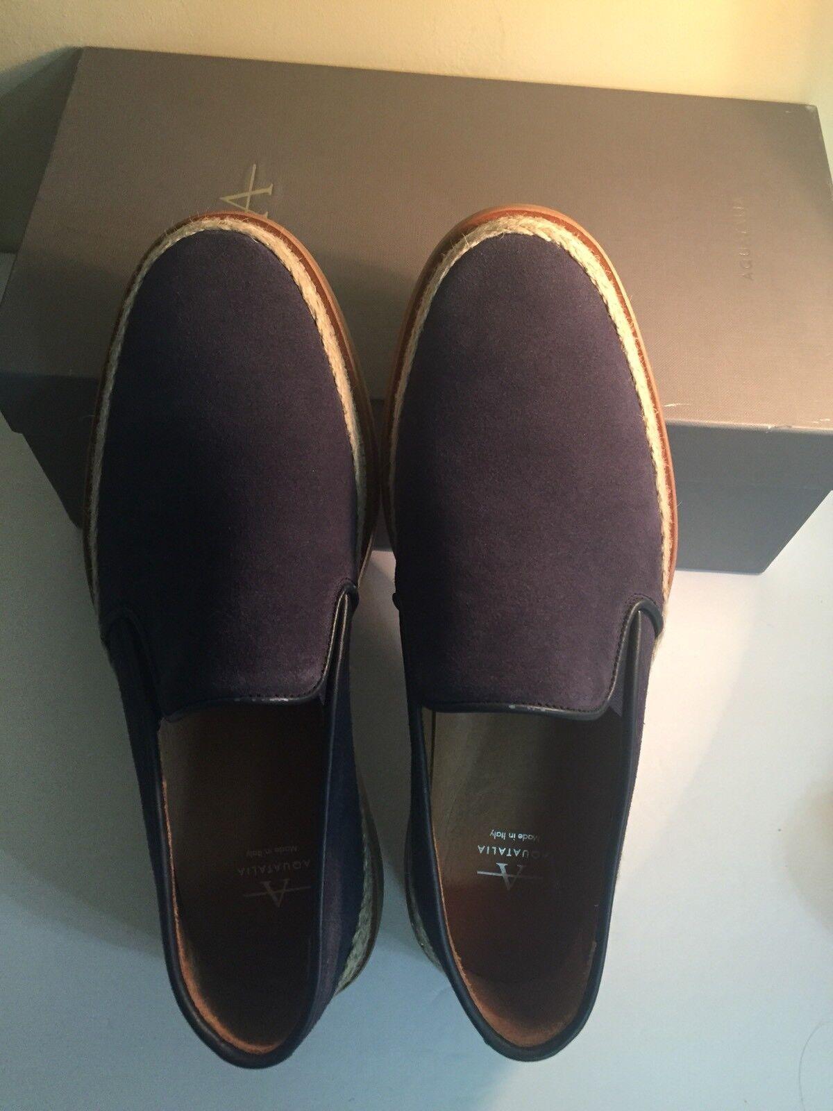 Mens Aquatalia Zayn Navy Blue Suede Loafers Size 9 M 395