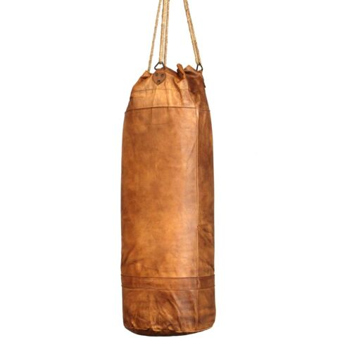 Leather Hanging Boxing Punching Bag Vintage Style Pugilist Three Foot Tall