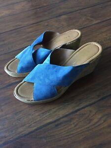 442a639adbb064 EUC A. Giannetti Blue Suede Slip On Platform Wedge Slide Sandals ...
