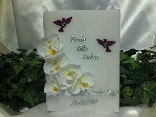 Hochzeitskerze Welle Sonderform mit Orchideen Orchideenblüten Lila//Silber H078//3