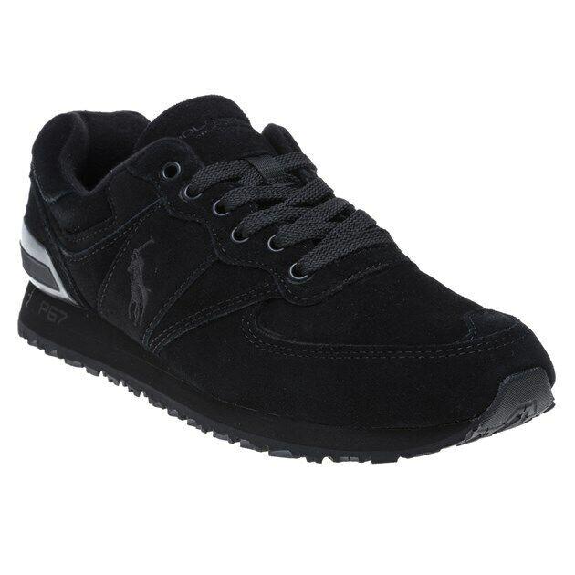 Mens Polo Ralph Pony Lauren New Sneakers Mono Black Slaton Suede FKJlcT13