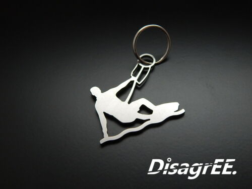 "Stainless Steel shiny surfing Kiteboarder Keyfob Keychain /""Kiteboarding/"""