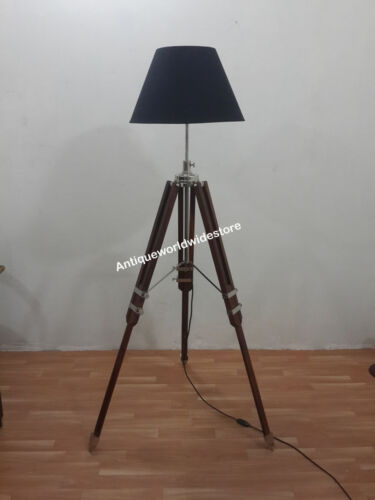 VINTAGE TRIPOD FLOOR LAMP TRIPOD LAMP CHROME SHADE HAND MADE