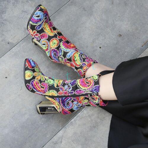Retro Womens High Heels Block Pointy Toe Pumps Floral Rhinestone Shoes