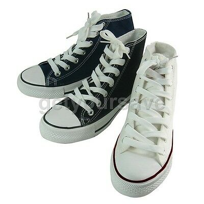 Couple Lover's Casual Lace Up Ankle Sneakers Canvas HIGH TOP Plimsoll Trainers