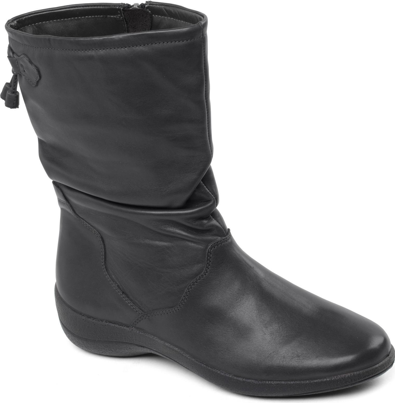 Padders Regan para Señoras mujeres botas de Cuero Genuino Ancho Ajuste E Cremallera Pantorrilla botas mujeres Negro b1ea2c