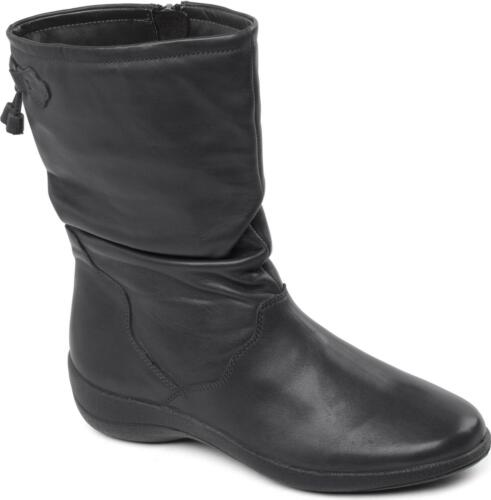 Leather Fit Boots Womens Regan Zip Padders E Black Up Ladies Genuine Wide Calf HwgIpq