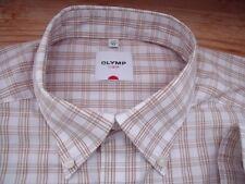 TA2020 Olymp LUXOR Businesshemd Langarm 43 Weiß Braun kariert Sehr gut