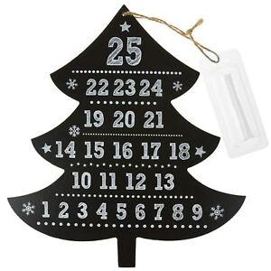 ALBERO-di-Natale-in-Legno-Lavagna-Calendario-dell-039-Avvento-con-Bastone-Di-Gesso-NATALE-conto-alla