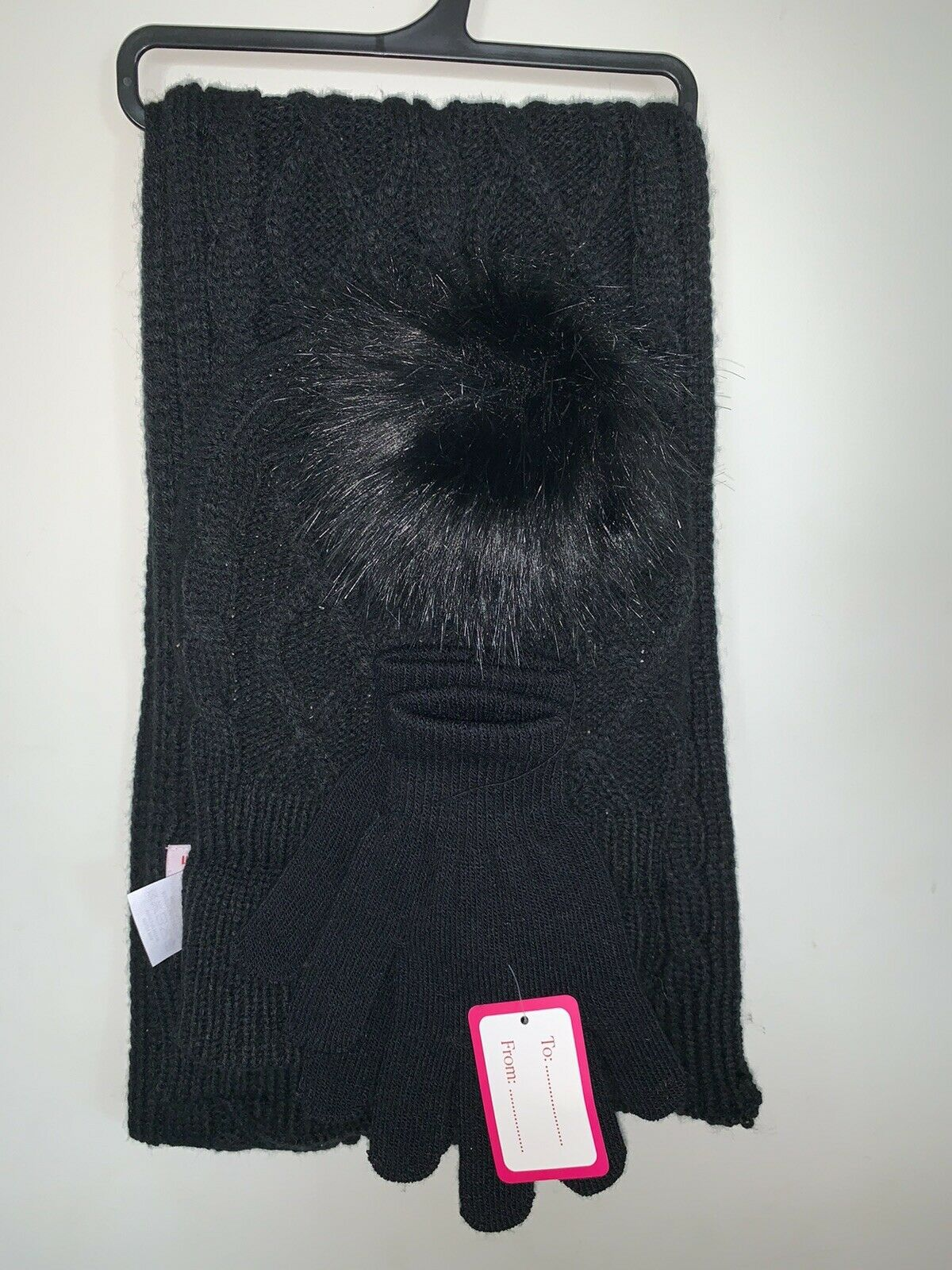 Rampage Black Set Of 3 Winter Accessories Set - Scarf, Hat, & Gloves Black NWT