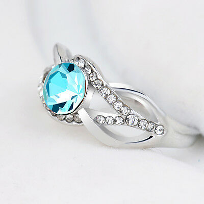 18K White Gold Plated White Blue Crystal Ring Wedding Jewelry Gift CZ Rhinestone