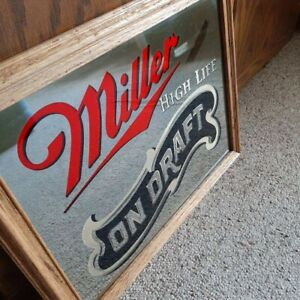 Miller-High-Life-On-Draft-Mirror-Sign-Wooden-Frame-VTG-1983-01-23038-Brewing-Co