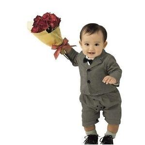 Baby Boy Formal Suit Pageboy Tuxedo Romper & Blazer Jacket SET size 0/1/2/3