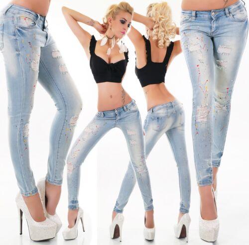 Jeans Donna Pantaloni Skinny Slim Fit Risse Brandelli Colorato Macchie di Colore