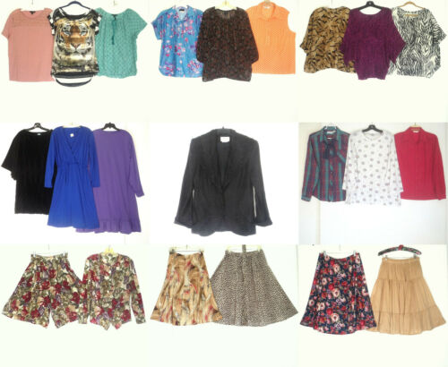 Lot of 22 Mostly 80s Clothing Tops Skirts Dresses