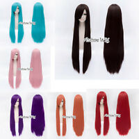 100cm Long Straight Women Lady Heat Resistant Anime Cosplay Hair Wig With Cap