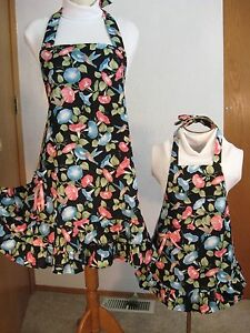 Mother daughter aprons Lady's plus fits 1x-3x  grls sz. choice birds made in USA