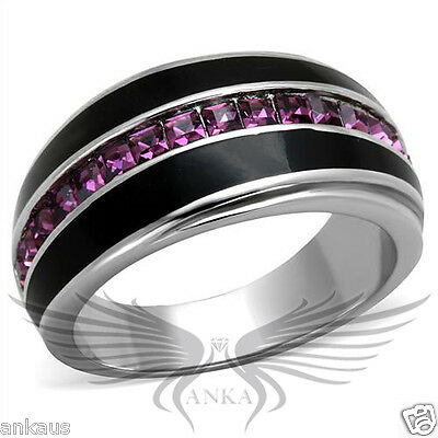 Top Grade Crystal Accented Black Epoxy Cocktail Ring Band 5 6 7 8 9 10 TK2023