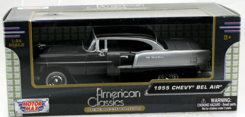 Chevy Chevrolet Bel Air 1955 schwarz-silber 1:24 Motor Max Modellauto