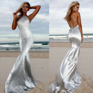 Women's Sexy Sequin Backless Long Maxi Mermaid Party Evening Cocktail Prom Dress