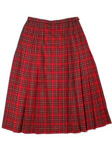 Women-Pendleton-Pleated-Knockabout-A-Line-Long-Red-Plaid-Wool-Skirt-Size-14