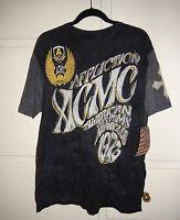 Affliction American Customs Fillmore T-shirt Black Lava Wash/ Gray Sleeves L