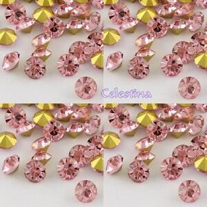 12-x-Grade-A-Glass-Chaton-Rhinestones-Back-Plated-Light-Rose-Pink-3mm-R1