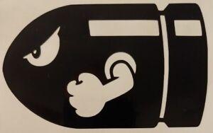 Bullet Bill Super Mario Bros Luigi Vinyl Decal Die-Cut Sticker Car or Laptop