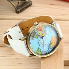 White Mini World Map Watch Men Women Fashion Watch
