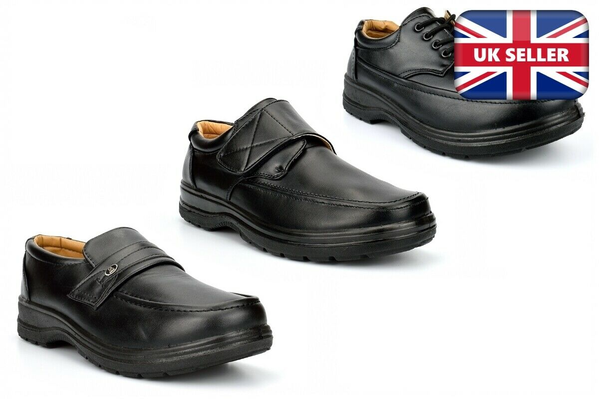 Mens Casual Shoes Touch Fastening Lace Up Slip On Mens Black Shoes Work Shoes