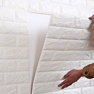 Image Is Loading 3D White Brick Wall Sticker Panels Background Decal  Part 72