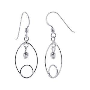 Long Dangle Open Heart .925 Sterling Silver Promise Ball Bead Earrings