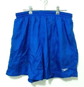 Vintage-Speedo-Mens-Board-Shorts-Size-L-Blue-Swim-Surf-Drawstring-Elastic-Waist