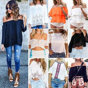 Womens-Boho-Summer-Cold-Off-Shoulder-Top-T-shirt-Casual-Beach-Loose-Blouse-Shirt