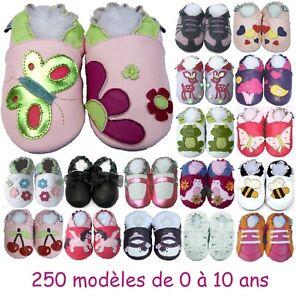 design de qualité 5d653 1aa92 Détails sur 250 modèles de chaussons en cuir souple Bébé enfant Fille de 0  à 10 ans NEUFS