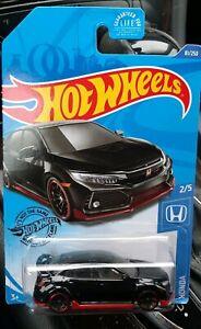 2018 Honda Civic Type R #81 Black 2//5 Honda 2020 Hot Wheels Case D