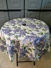"vinyl plastic poly backing  70"" ROUND  lilac umbrella hole  tablecloth"
