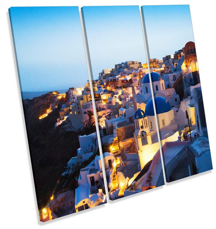 Santorini Greece TREBLE CANVAS Wand Kunst Square Drucken Bild