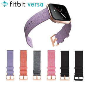 For-Fitbit-Versa-Strap-Replacement-Woven-Fabric-With-RoseGold-Buckle-Watch-Band