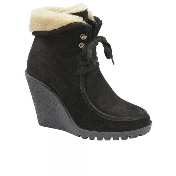 Ladies Winter Ravel Troy Black Suede Suede Suede Wedge High Heel Warm Fur Ankle Boots UK 5 40e3f5