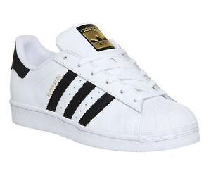 Adidas Superstar Unisex  Men's Women's WHITE BLACK FOUNDATION Trainers Shoes