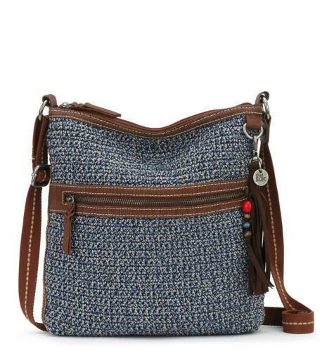 The Sak Lucia Denim Crochet Crossbody Shoulder Bag For Sale Online