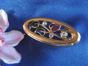 Pierre-Lang-Brosche-Emaille-Emaile-Blaetter-vergoldet-Blaetterbrosche-Art-M-459